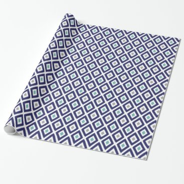 Aztec Themed Navy Blue and Grey Ikat Diamond Pattern Wrapping Paper