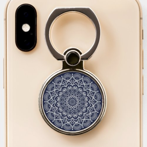 Navy Blue and Grey Mandala Phone Case