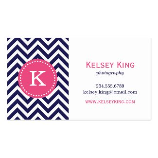 Navy Blue and Hot Pink Chevron Custom Monogram Business Card