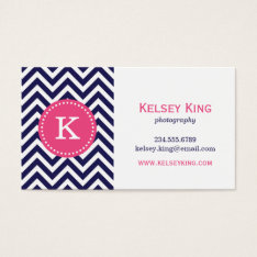 Navy Blue And Hot Pink Chevron Custom Monogram Business Card at Zazzle