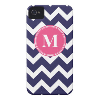 Navy Blue and Hot Pink Chevron Custom Monogram iPhone 4 Case-Mate Cases