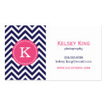 Navy Blue and Hot Pink Chevron Custom Monogram Double-Sided Standard Business Cards (Pack Of 100)