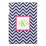 Navy Blue and Hot Pink Chevron Custom Monogram iPad Mini Cases