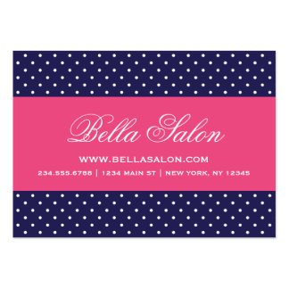 Navy Blue and Hot Pink Cute Modern Polka Dots Large Business Cards (Pack Of 100)