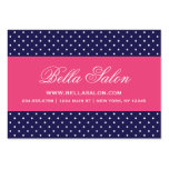 Navy Blue and Hot Pink Cute Modern Polka Dots Large Business Card