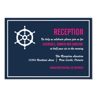 Navy Blue and Hot Pink Nautical Reception Card