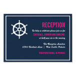 "Navy Blue and Hot Pink Nautical Reception Card 3.5"" X 5"" Invitation Card"