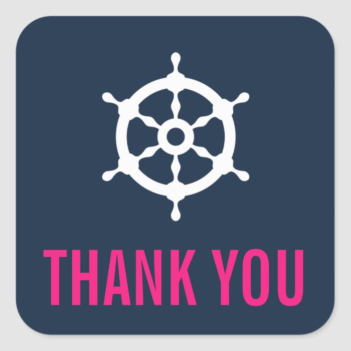 Navy Blue and Hot Pink Nautical Thank You Sticker