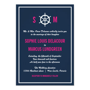 Navy Blue and Hot Pink Nautical Wedding Invitation 5