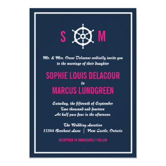 Navy Blue and Hot Pink Nautical Wedding Invitation