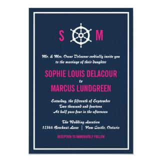 Navy Blue and Hot Pink Nautical Wedding Invitation