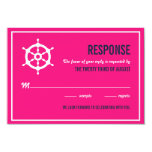 "Navy Blue and Hot Pink Nautical Wedding RSVP Card 3.5"" X 5"" Invitation Card"