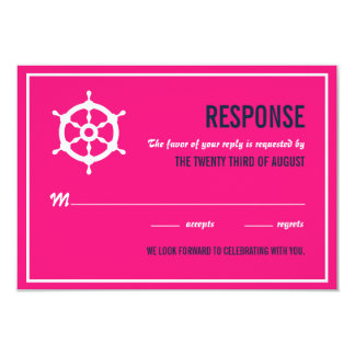 Navy Blue and Hot Pink Nautical Wedding RSVP Card