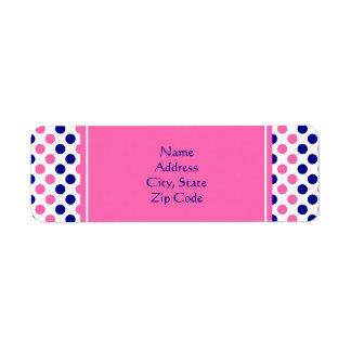 Navy Blue and Hot Pink Polka Dot Pattern Label