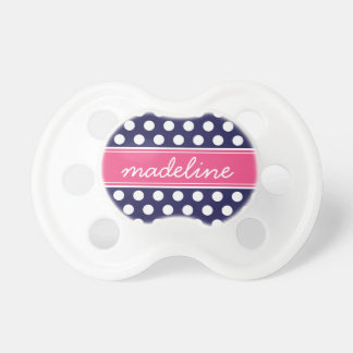 Navy Blue and Hot Pink Polka Dots Monogram BooginHead Pacifier