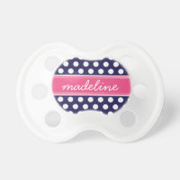 Navy Blue and Hot Pink Polka Dots Monogram Pacifier