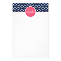 Navy Blue and Hot Pink Quatrefoil Monogram Stationery