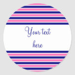 Navy Blue and Hot Pink Stripes Pattern Stickers