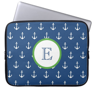 Navy Blue and Hunter Green Anchor Laptop Sleeve