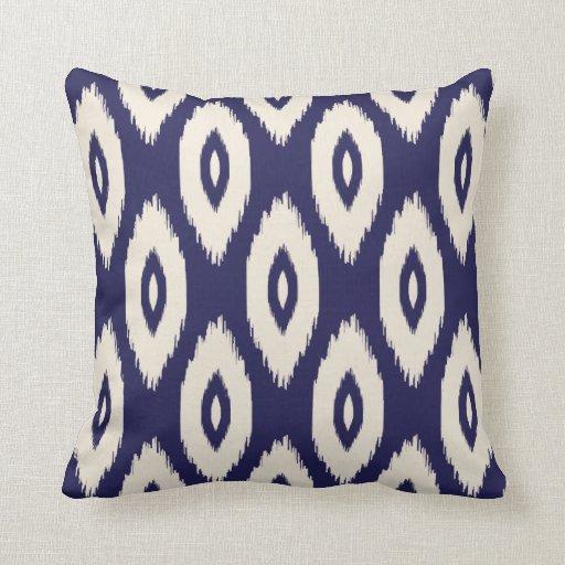 Ikat Design Throw Pillows : Navy Blue and Ivory Tribal Ikat Dots Throw Pillow Zazzle
