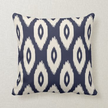 Aztec Themed Navy Blue and Ivory Tribal Ikat Dots Throw Pillow