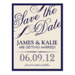 Navy Blue and Ivory Vintage Script Save the Date Post Cards