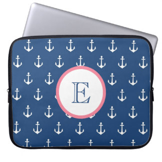 Navy Blue and Light Pink Anchor Laptop Sleeve