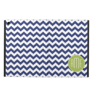 Navy Blue and Lime Green Chevron Pattern iPad Air Cases