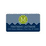 Navy Blue and Lime Green Chevrons Custom Monogram Address Label