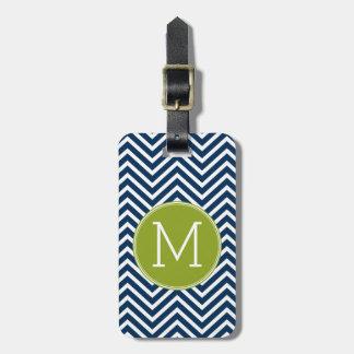 Navy Blue and Lime Green Chevrons Custom Monogram Bag Tag