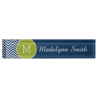 Navy Blue and Lime Green Chevrons Custom Monogram Desk Name Plate