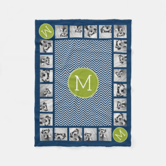 Navy Blue and Lime Green Chevrons Custom Monogram Fleece Blanket