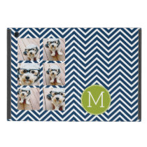Navy Blue and Lime Green Chevrons Custom Monogram iPad Mini Cover
