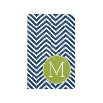 Navy Blue and Lime Green Chevrons Custom Monogram Journal