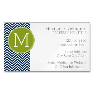 Navy Blue and Lime Green Chevrons Custom Monogram Magnetic Business Card