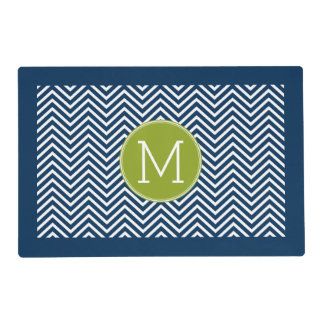 Navy Blue and Lime Green Chevrons Custom Monogram Laminated Place Mat