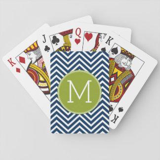 Navy Blue and Lime Green Chevrons Custom Monogram Poker Cards
