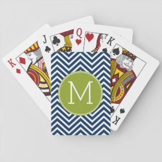 Navy Blue and Lime Green Chevrons Custom Monogram Playing Cards