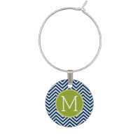 Navy Blue and Lime Green Chevrons Custom Monogram Wine Glass Charm