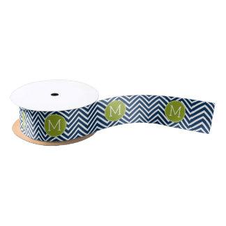Navy Blue and Lime Green Chevrons Custom Monogram Satin Ribbon