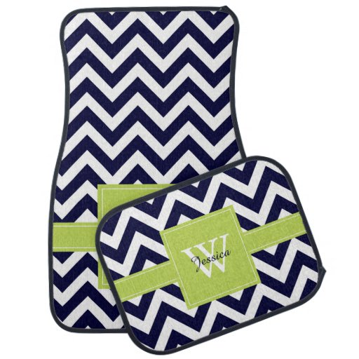 Navy Blue And Lime Green Chevrons Monogrammed Car Mat Zazzle