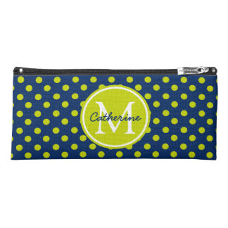 Navy Blue and Lime Green Polka Dot Monogram Pencil Case