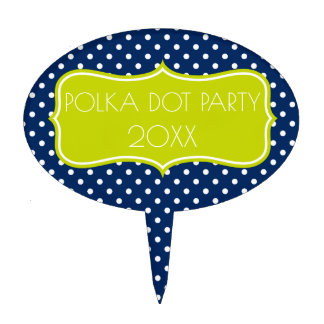 Navy Blue and Lime Green Polka Dot Personalized Cake Topper