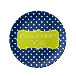 Navy Blue and Lime Green Polka Dot Personalized Dinner Plate  sc 1 st  Zazzle & Navy And Lime Green Plates | Zazzle
