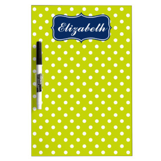 Navy Blue and Lime Green Polka Dot Personalized Dry-Erase Board