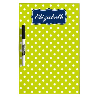 Beach Themed Navy Blue and Lime Green Polka Dot Personalized Dry-Erase Board