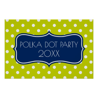 Navy Blue and Lime Green Polka Dot Personalized Poster