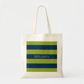 Navy Blue and Lime Green Rugby Stripes Custom Name Tote Bag
