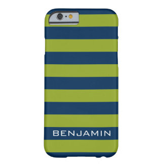 Navy Blue and Lime Green Rugby Stripes Custom Name Barely There iPhone 6 Case