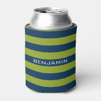 Navy Blue and Lime Green Rugby Stripes Custom Name Can Cooler